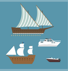 Ship boat sea symbol vessel travel industry vector