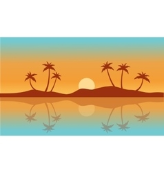 Silhouette palm with reflection on water vector