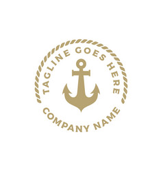 Simple anchor silhouette and rope logo design vector