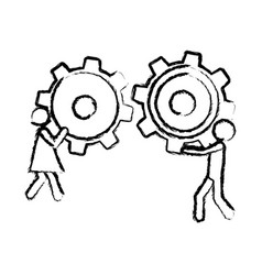 Sketch of man and woman holding a pinion vector