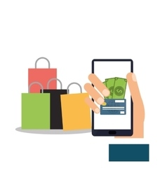Smartphone and shopping online design vector