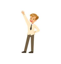 smiling boy character in school uniform standing vector image