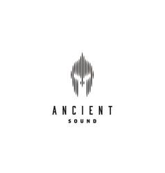 spartan helmet armor digital wave sound audio logo vector image