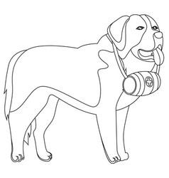 St bernard dog lifesaver outline vector