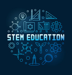 stem education concept blue linear round vector image
