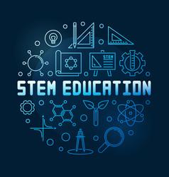 Stem education concept blue linear round vector
