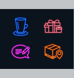 Teacup holiday presents and message icons parcel vector