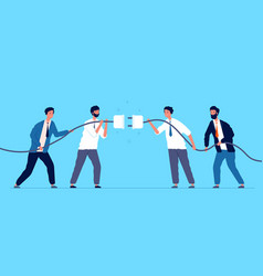 team connected plug business people connecting vector image