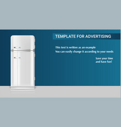 Template with retro vintage fridge for vector