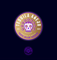tequila label packaging design mexican skull vector image