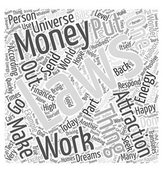 The laws attraction and finances word cloud vector