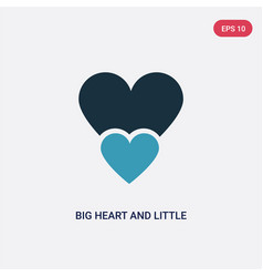 Two color big heart and little heart icon from vector