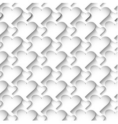 white 3d love hearts seamless pattern surface vector image