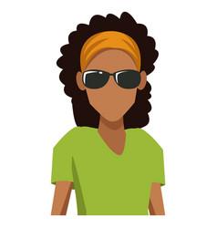 woman with sunglasses cartoon vector image