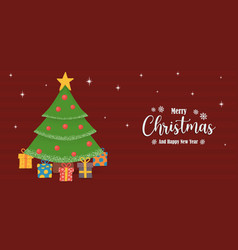 year pine tree gift holiday banner vector image