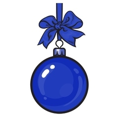 Blue Christmas balls with ribbon and bows vector image vector image
