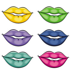 flat girl lips colored set vector image