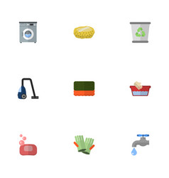 Flat icons clothes washing faucet garbage vector