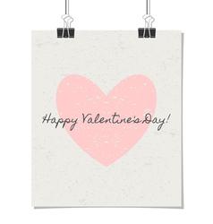 happy valentines day vintage design poster vector image vector image