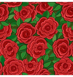Seamless background with red roses and leaves vector image vector image
