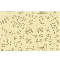 Seamless furniture background vector image