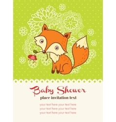 Baby shower invitation card with a fox vector