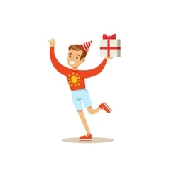 Biy Running With Present Kids Birthday Party vector image