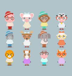 geek hipster cute animal boy girl cubs mascot vector image vector image