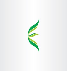 letter e ecology green logo with leaves vector image