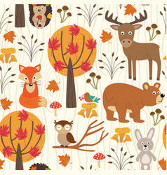 seamless pattern with autumn forest vector image vector image
