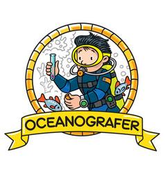 funny oceanographer or diver emblem vector image