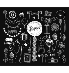 Hand drawn Happy birthday collection vector image vector image