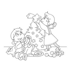 kids decorating a christmas tree coloring vector image vector image