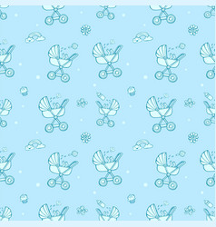 seamless monochrome blue pattern with cute baby vector image vector image