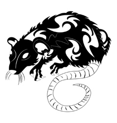 A rat black and white vector