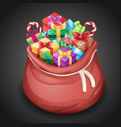 santa gifts bag new year christmas cartoon design vector image