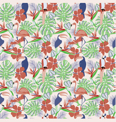 tropical plants and flowers with toucan parrot vector image