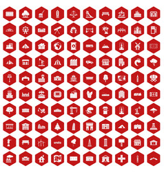 100 landscape element icons hexagon red vector image