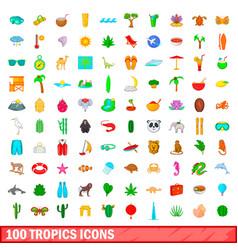 100 tropics icons set cartoon style vector