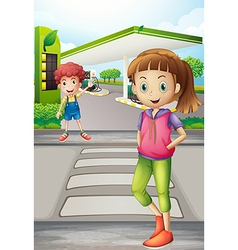 A girl and a young boy near the gasoline station vector image