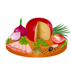 A piece cheese and slices ham in spices vector