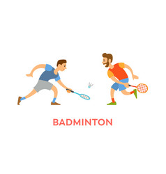 badminton players men with rackets playing game vector image