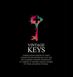 Banner with abstract old key and place for text vector