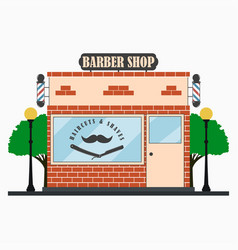 barber shop building facade with signboard vector image
