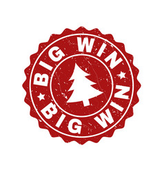 big win grunge stamp seal with fir-tree vector image