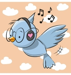 Bird with headphones vector