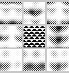 Black and white curved shape pattern set vector image