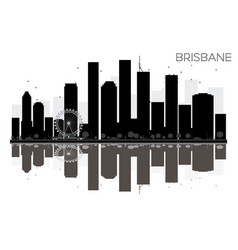 brisbane city skyline black and white silhouette vector image