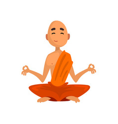 buddhist monk cartoon character sitting in vector image