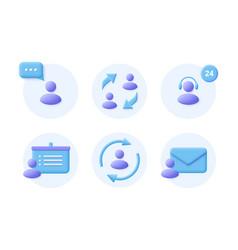 Business communication 3d realistic icon set vector